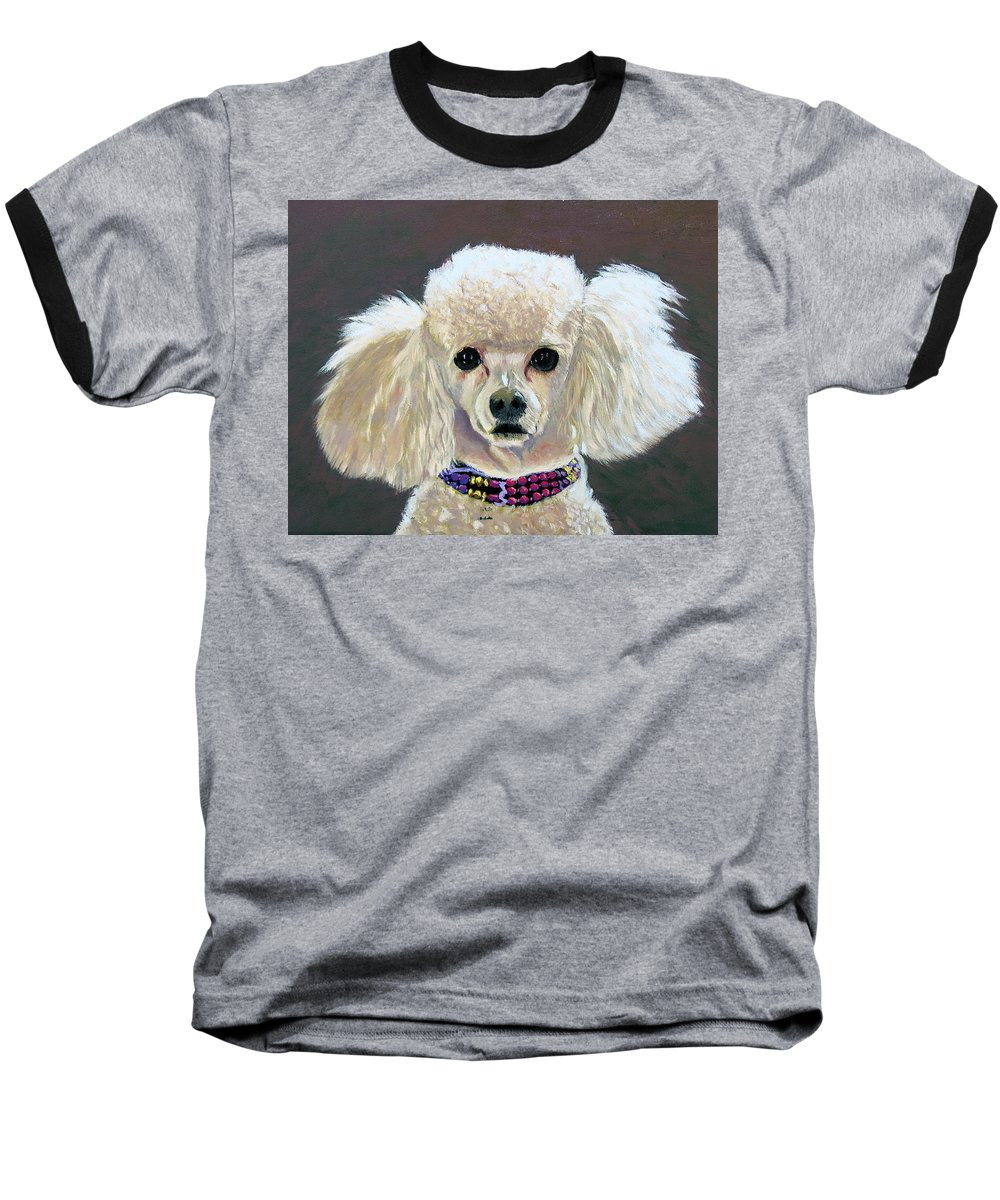 Dog Baseball T-Shirt featuring the painting Pebbles by Stan Hamilton
