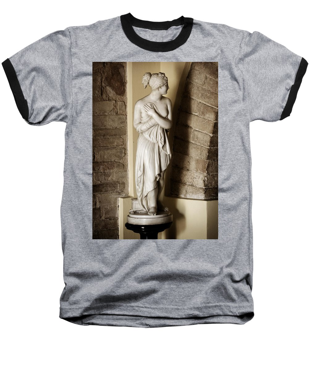 Statue Baseball T-Shirt featuring the photograph Peering Woman by Marilyn Hunt
