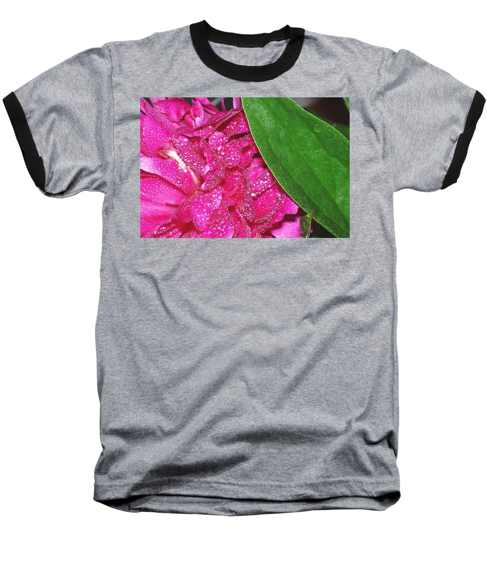 Peony Baseball T-Shirt featuring the photograph Peony And Leaf by Nancy Mueller