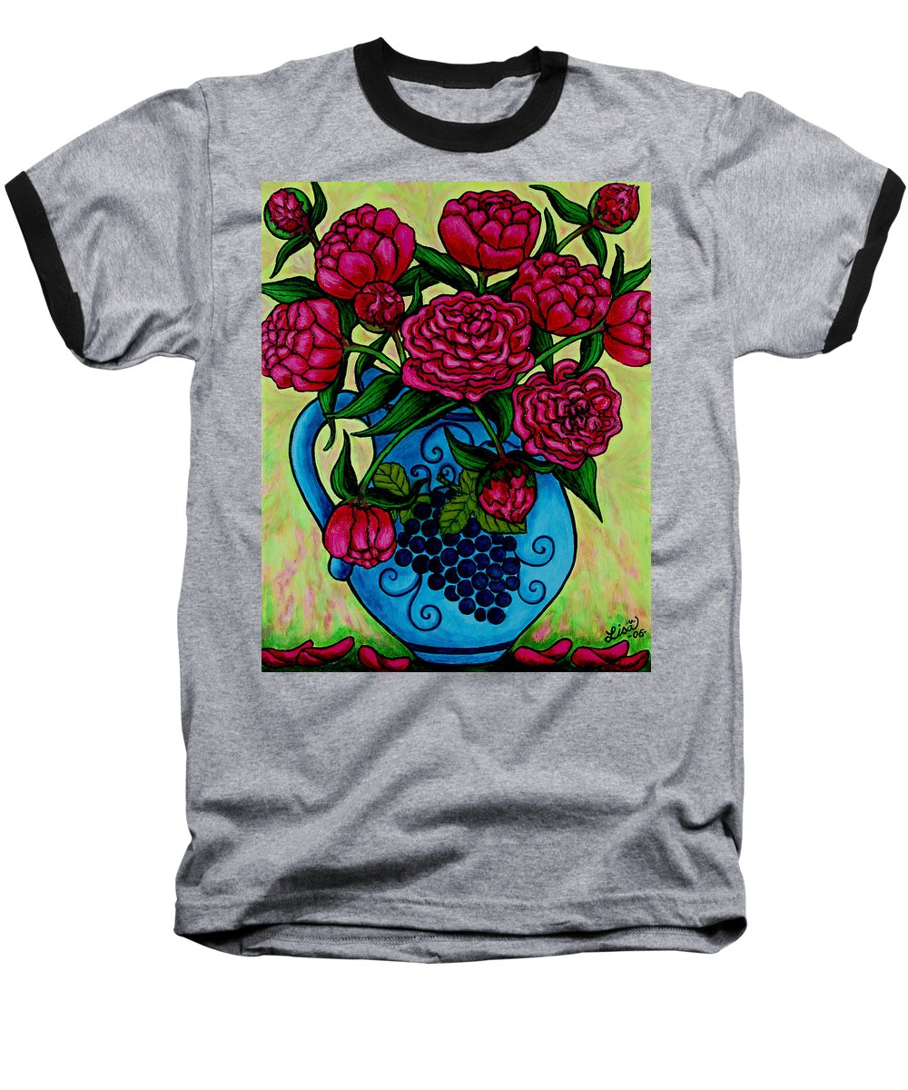 Peonies Baseball T-Shirt featuring the painting Peony Party by Lisa Lorenz