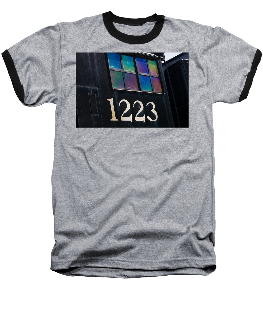 3scape Baseball T-Shirt featuring the photograph Pere Marquette Locomotive 1223 by Adam Romanowicz