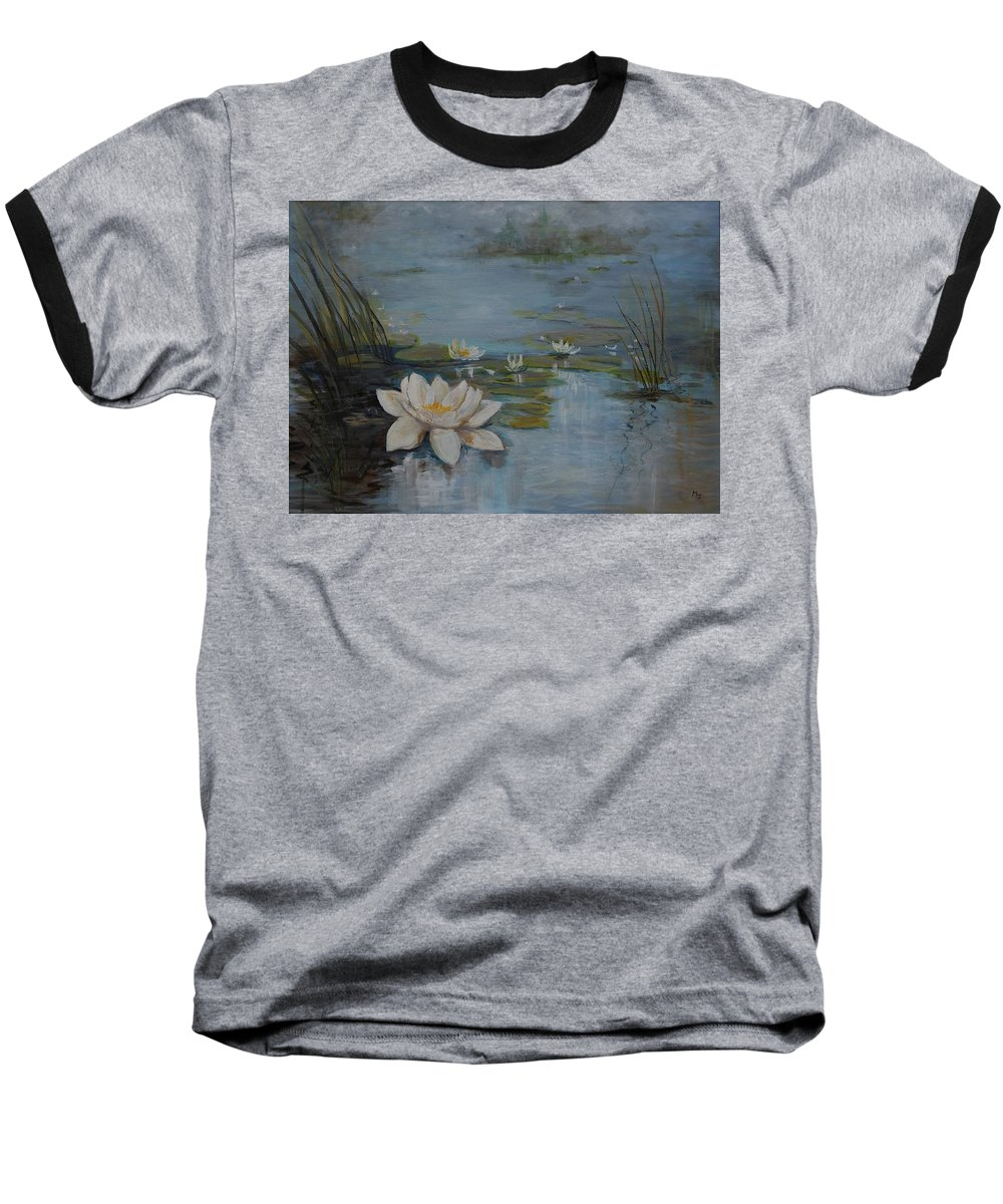 Water Lily Baseball T-Shirt featuring the painting Perfect Lotus - Lmj by Ruth Kamenev