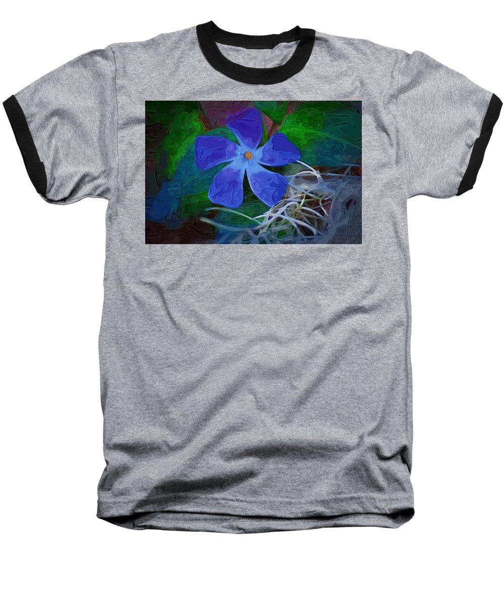 Flower Baseball T-Shirt featuring the digital art Periwinkle Blue by Donna Bentley