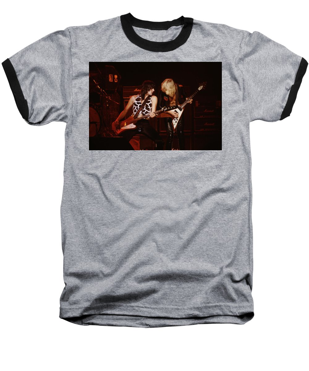 Pete Way Baseball T-Shirt featuring the photograph Pete Way And Michael Schenker by Rich Fuscia