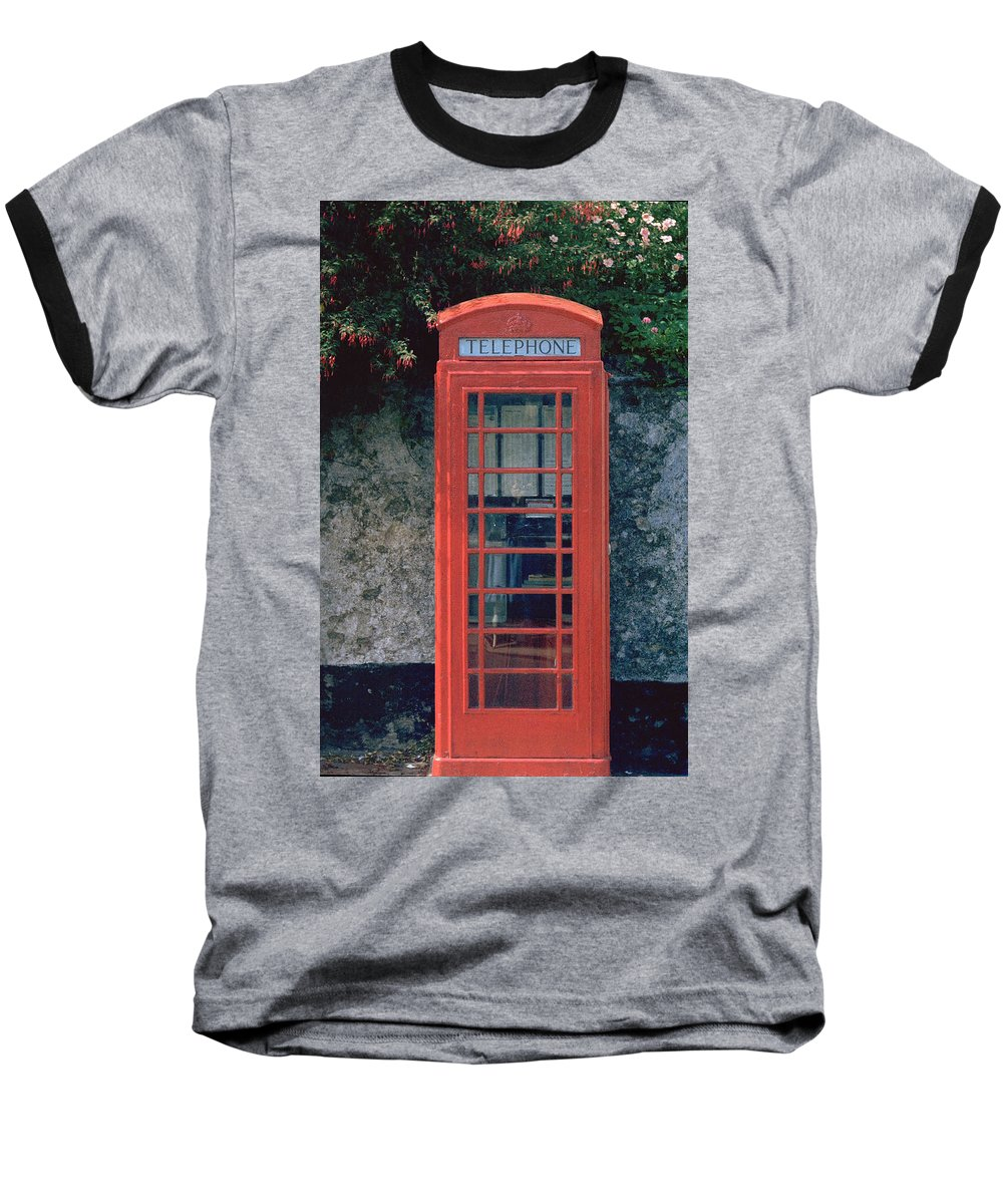 Great Britain Baseball T-Shirt featuring the photograph Phone Booth by Flavia Westerwelle