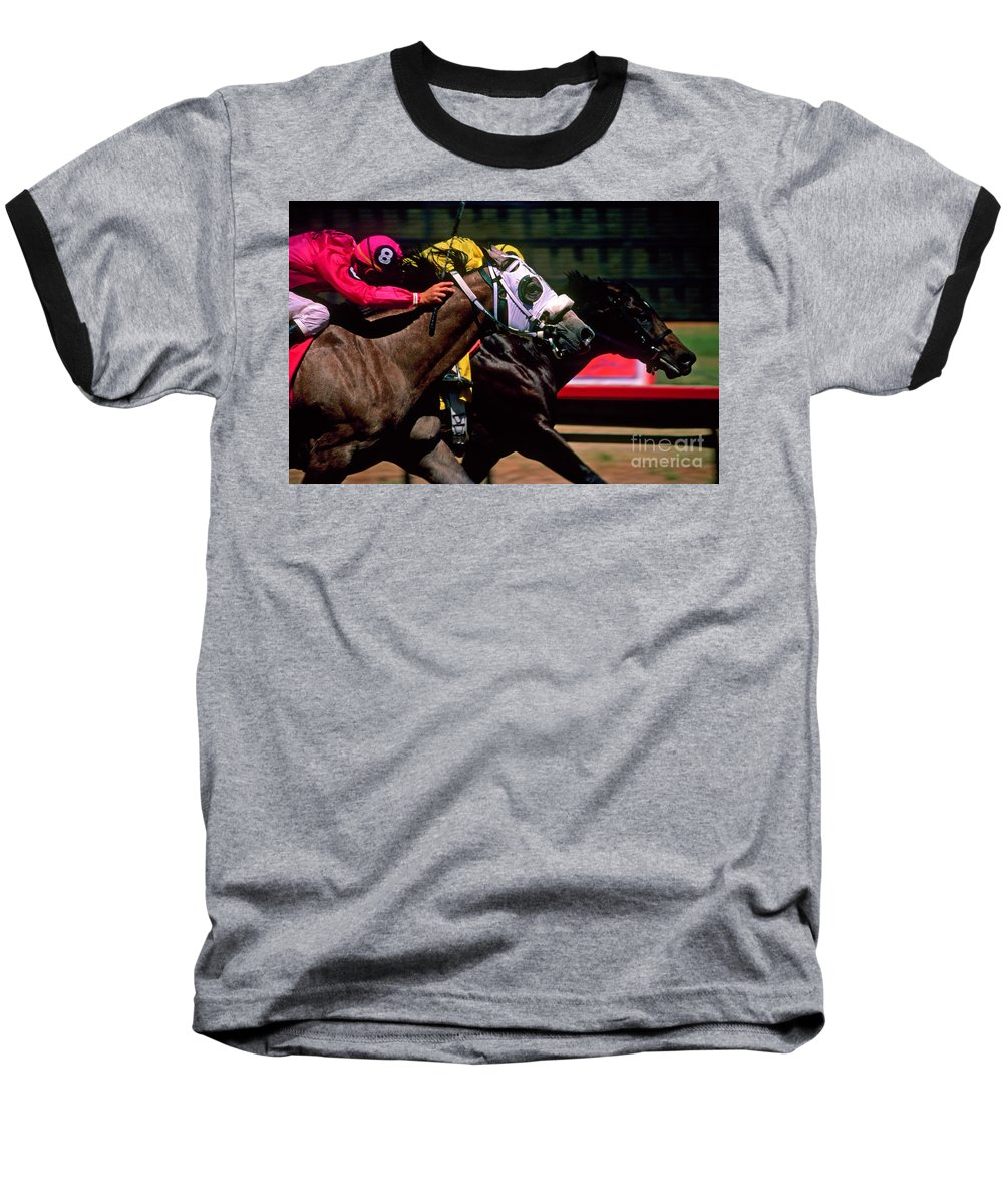 Horse Baseball T-Shirt featuring the photograph Photo Finish by Kathy McClure