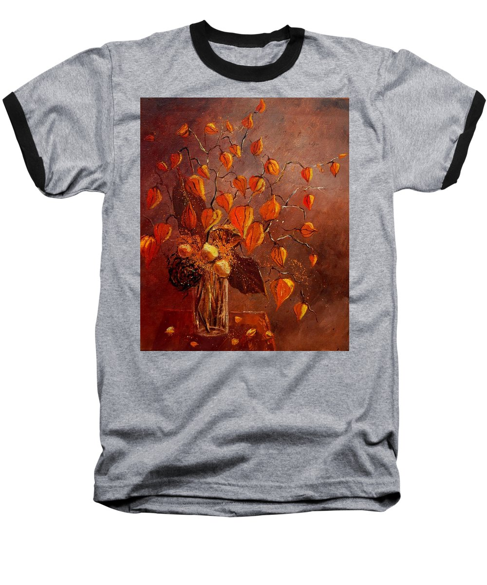Poppies Baseball T-Shirt featuring the painting Physialis by Pol Ledent