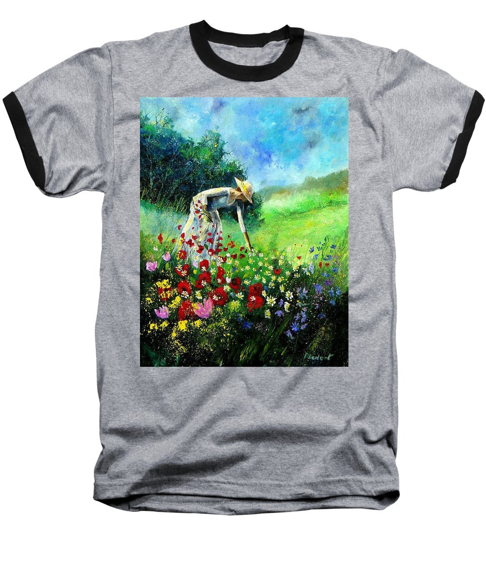 Poppies Baseball T-Shirt featuring the painting Picking Flower by Pol Ledent