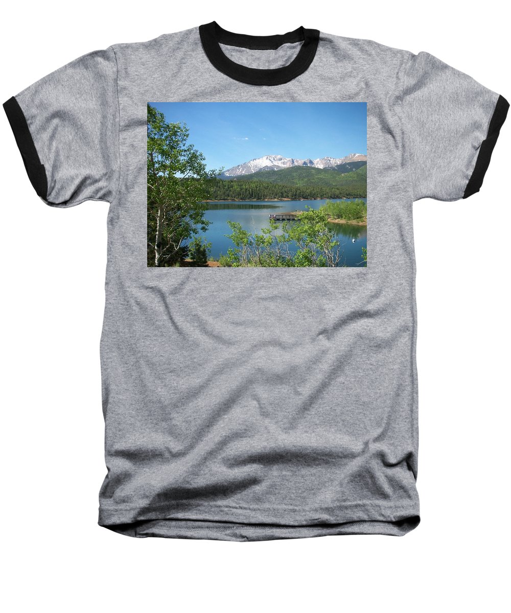 Colorado Baseball T-Shirt featuring the photograph Pike's Peak by Anita Burgermeister