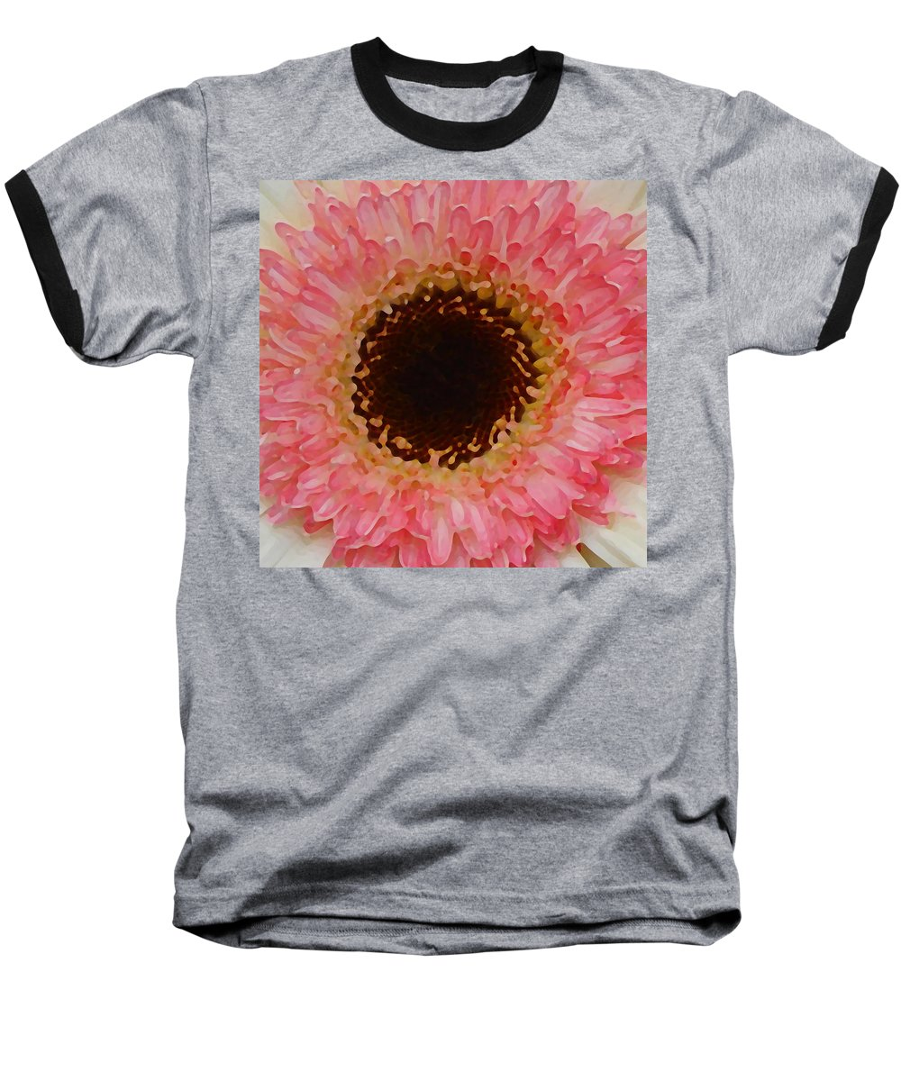 Daisy Baseball T-Shirt featuring the painting Pink And Brown Gerber Center by Amy Vangsgard