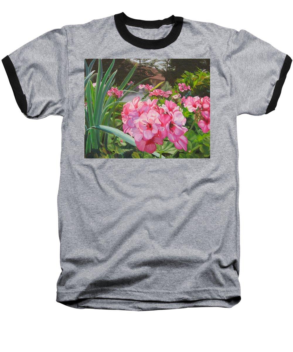 Pink Geraniums Baseball T-Shirt featuring the painting Pink Geraniums by Lea Novak