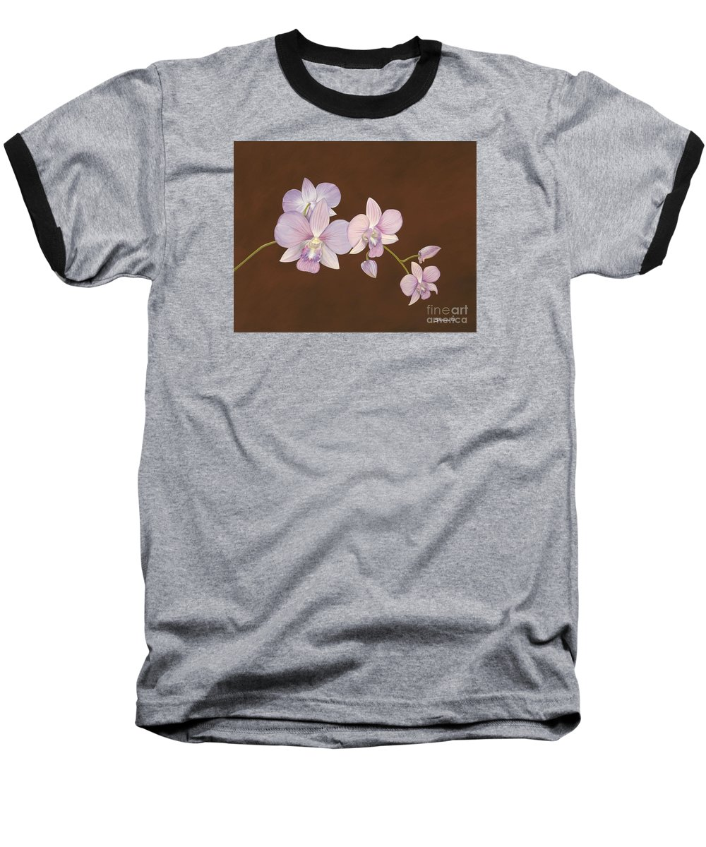 Orchid Baseball T-Shirt featuring the painting Pink Orchids by Shawn Stallings