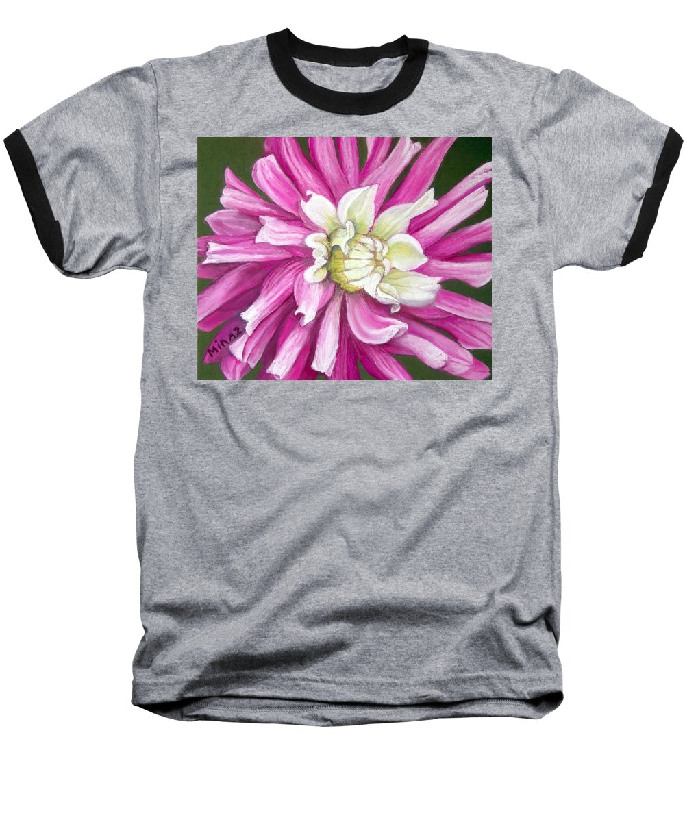 Floral Baseball T-Shirt featuring the painting Pink Petal Blast by Minaz Jantz