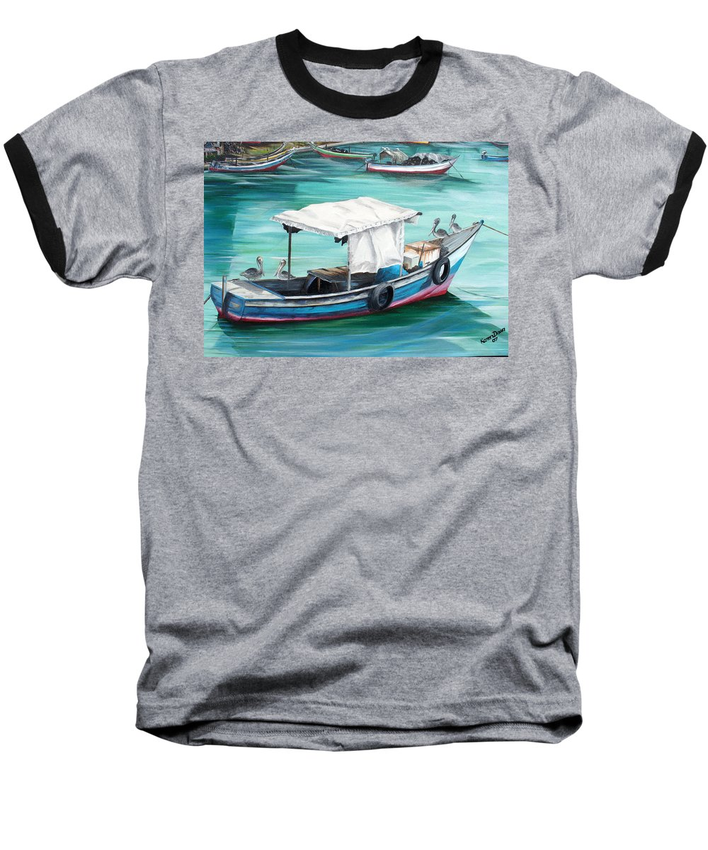 Fishing Boat Painting Seascape Ocean Painting Pelican Painting Boat Painting Caribbean Painting Pirogue Oil Fishing Boat Trinidad And Tobago Baseball T-Shirt featuring the painting Pirogue Fishing Boat by Karin Dawn Kelshall- Best