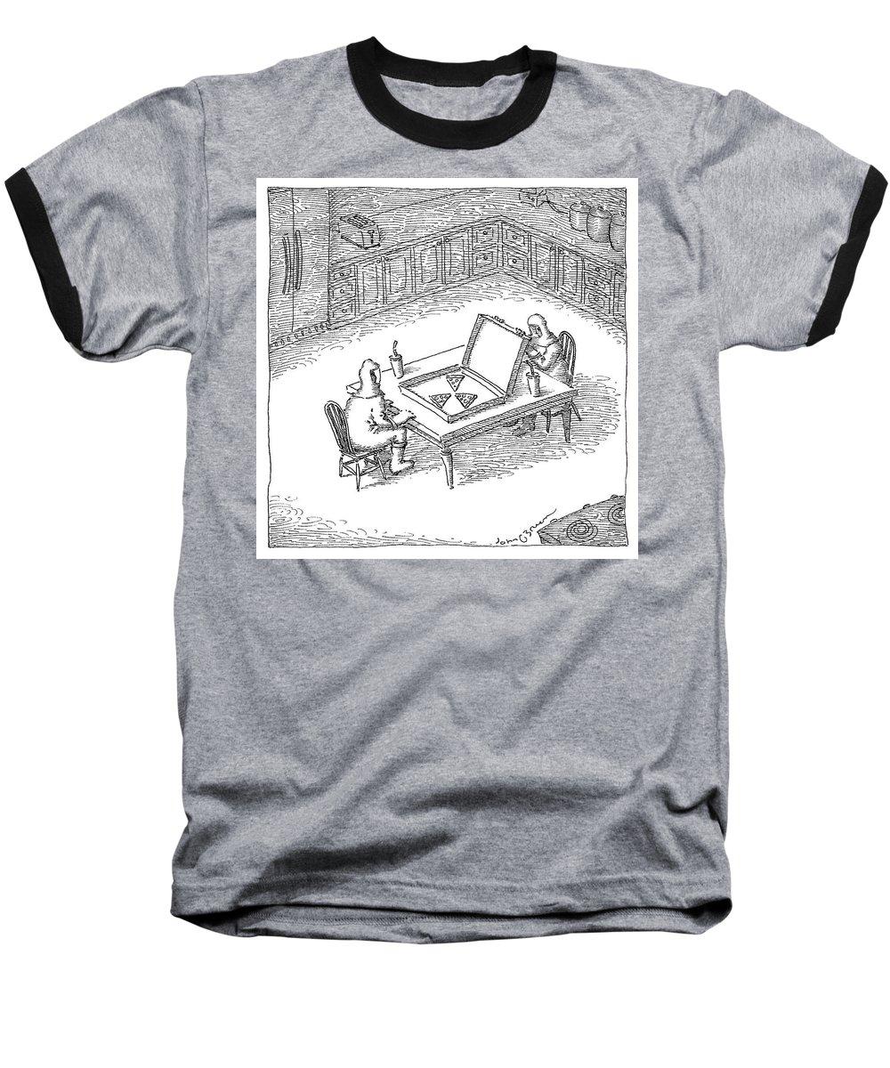 Hazard Baseball T-Shirt featuring the drawing Pizza Hazard by John O'Brien