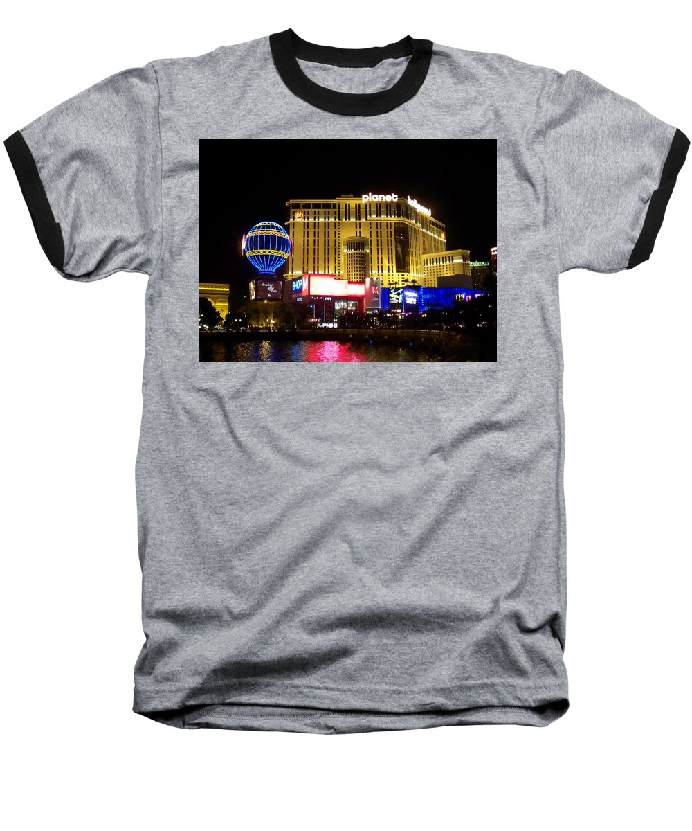 Vegas Baseball T-Shirt featuring the photograph Planet Hollywood By Night by Anita Burgermeister