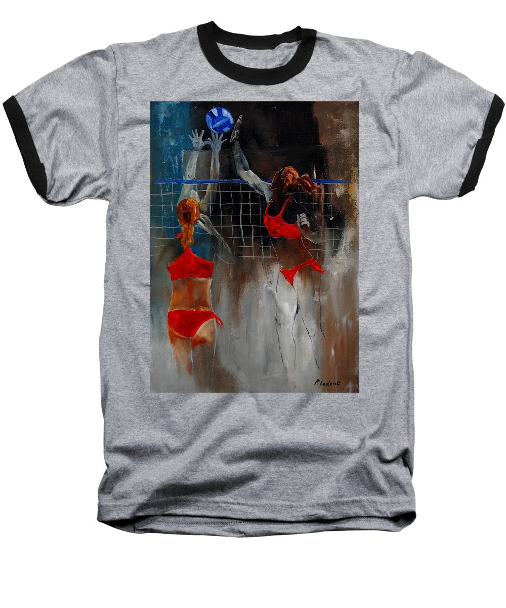 Sport Baseball T-Shirt featuring the painting Playing Volley by Pol Ledent