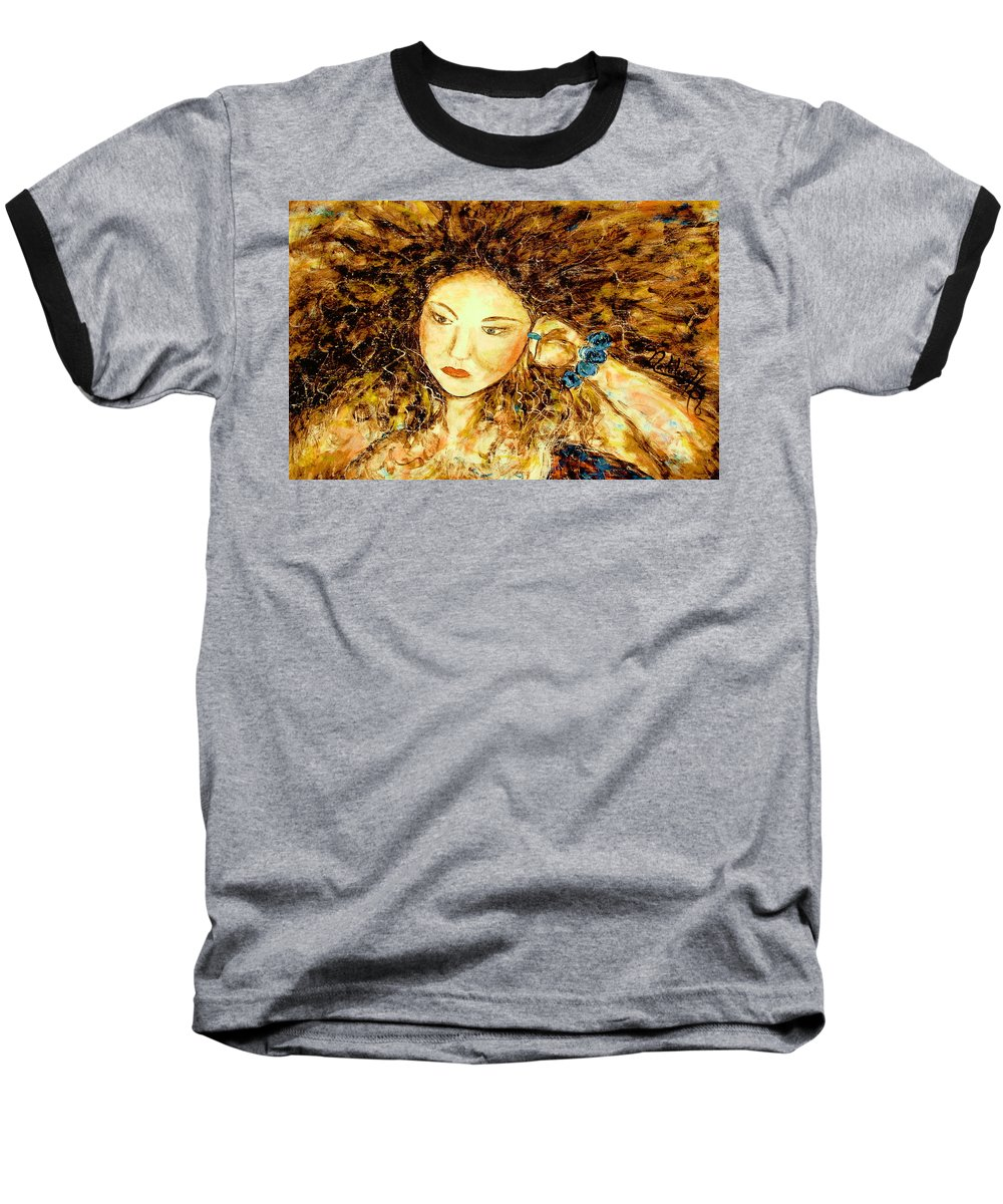 Portrait Baseball T-Shirt featuring the painting Poet by Natalie Holland