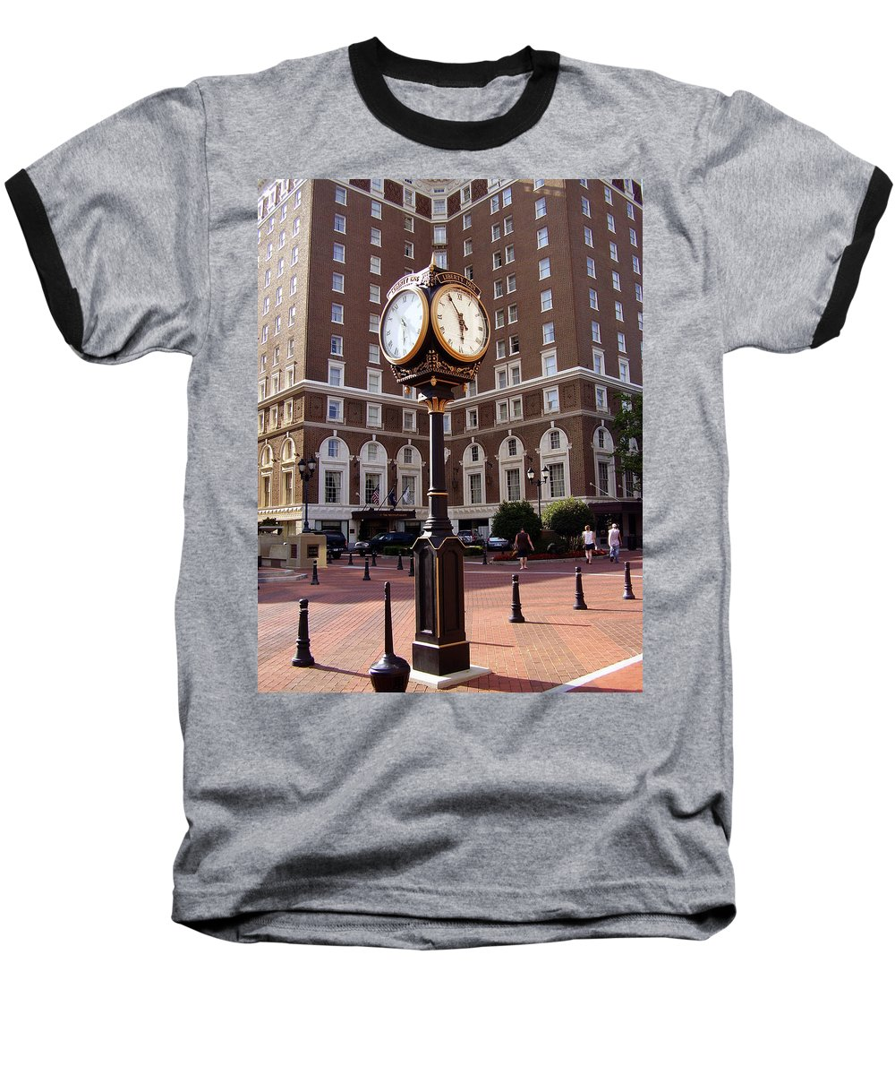 Poinsett Hotel Baseball T-Shirt featuring the photograph Poinsett Hotel Greeenville Sc by Flavia Westerwelle