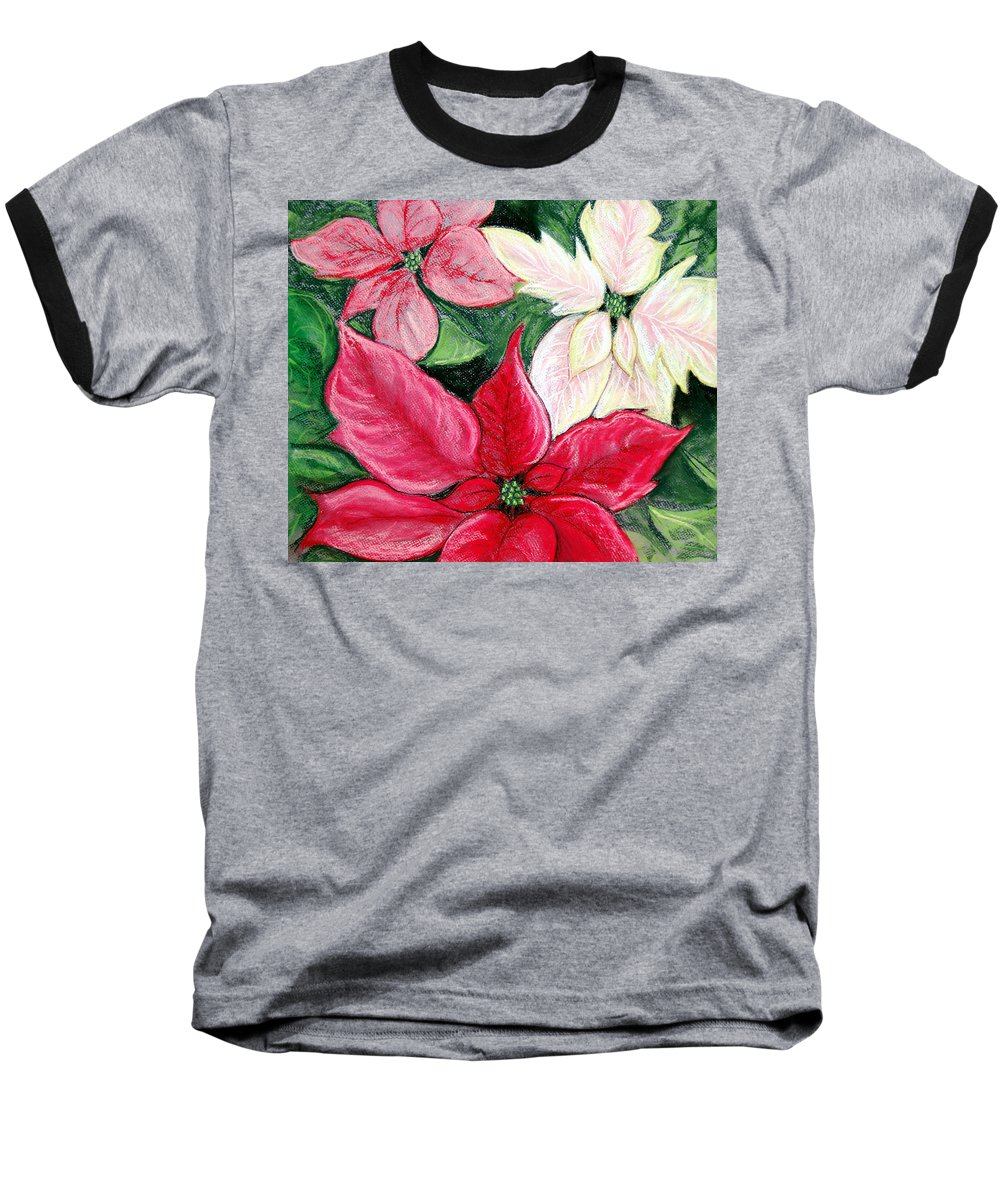 Poinsettia Baseball T-Shirt featuring the pastel Poinsettia Pastel by Nancy Mueller