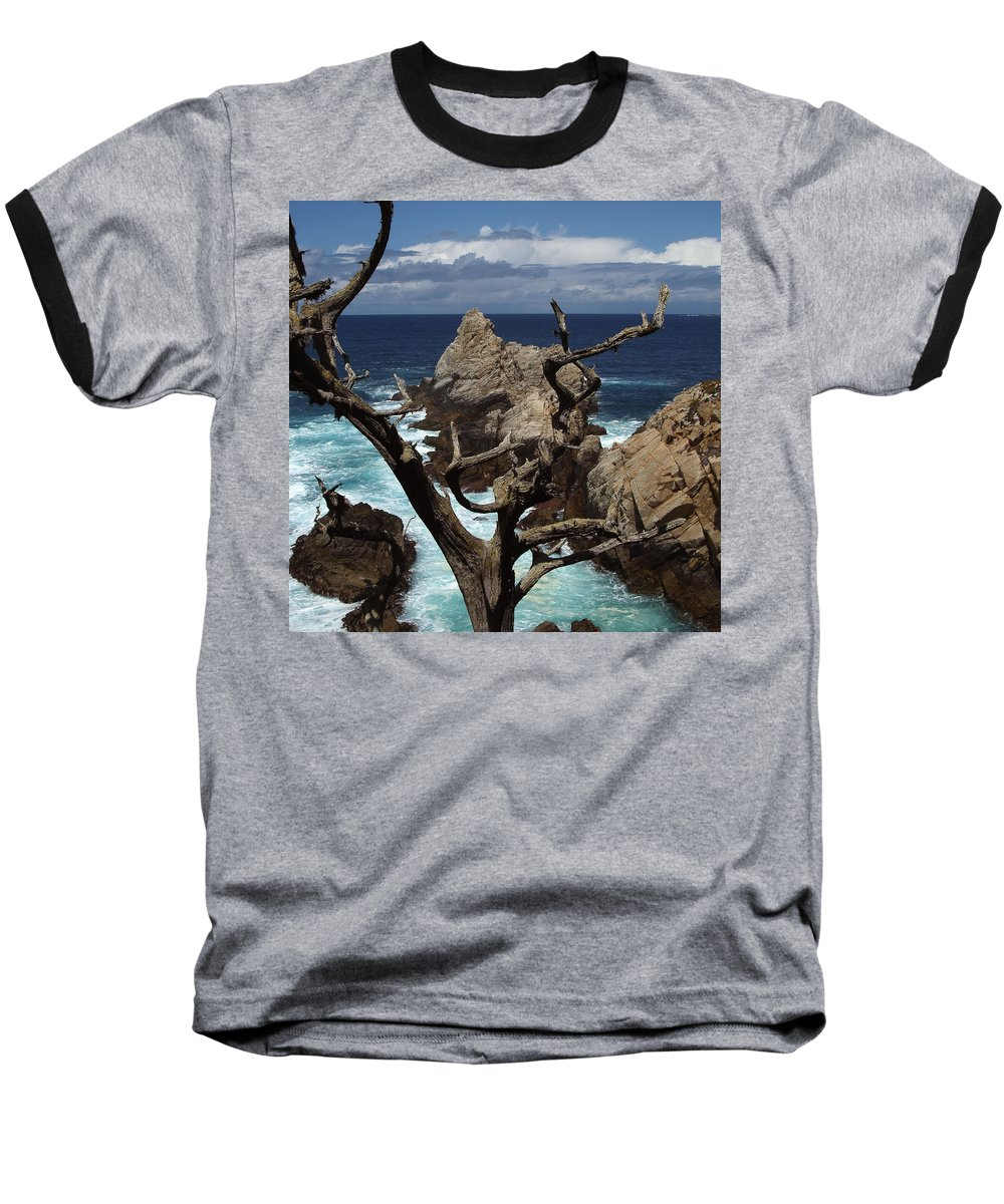 Carmel Baseball T-Shirt featuring the photograph Point Lobos Rocks And Branches by Charlene Mitchell