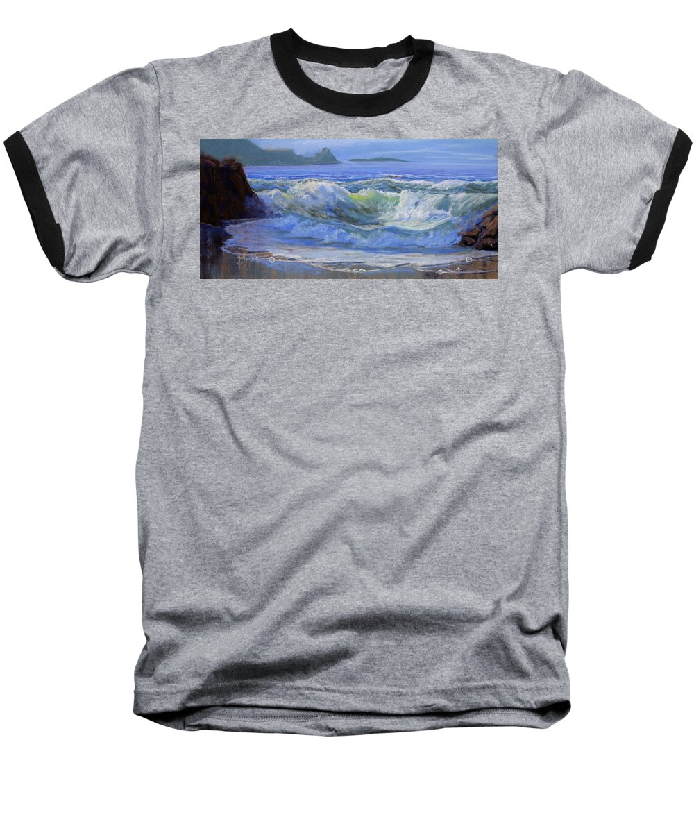 Seascape Baseball T-Shirt featuring the painting Point Reyes by Heather Coen