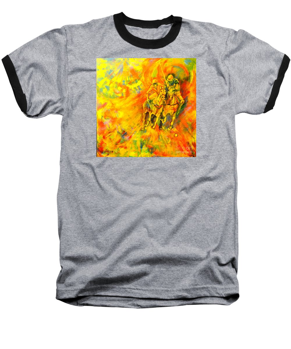 Horses Baseball T-Shirt featuring the painting Poloplayer by Dagmar Helbig