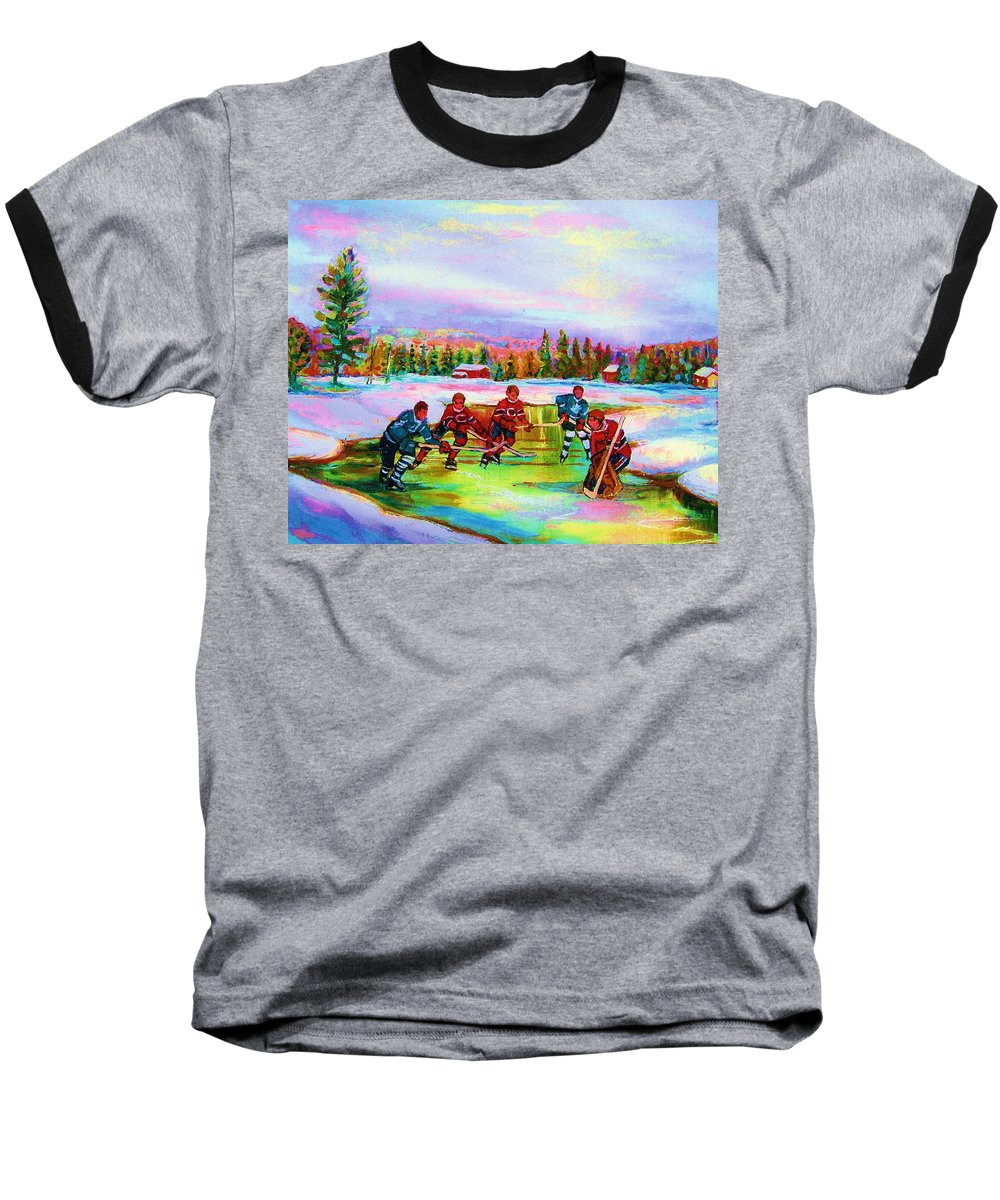 Hockey Baseball T-Shirt featuring the painting Pond Hockey Blue Skies by Carole Spandau