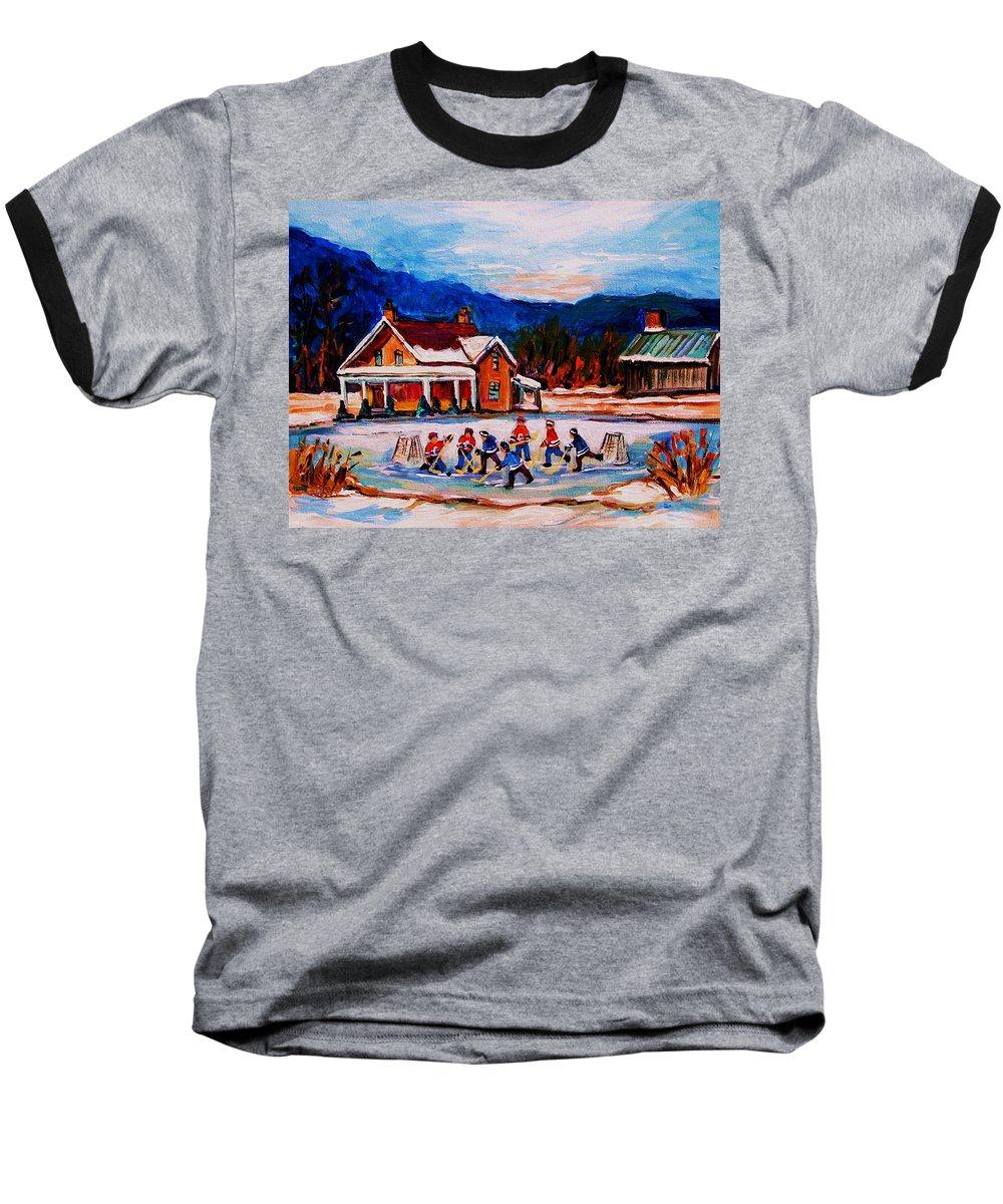 Hockey Baseball T-Shirt featuring the painting Pond Hockey by Carole Spandau