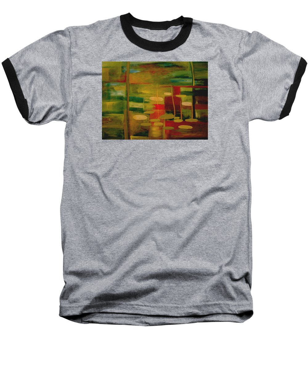 Pond Baseball T-Shirt featuring the painting Pond Reflections by Jun Jamosmos