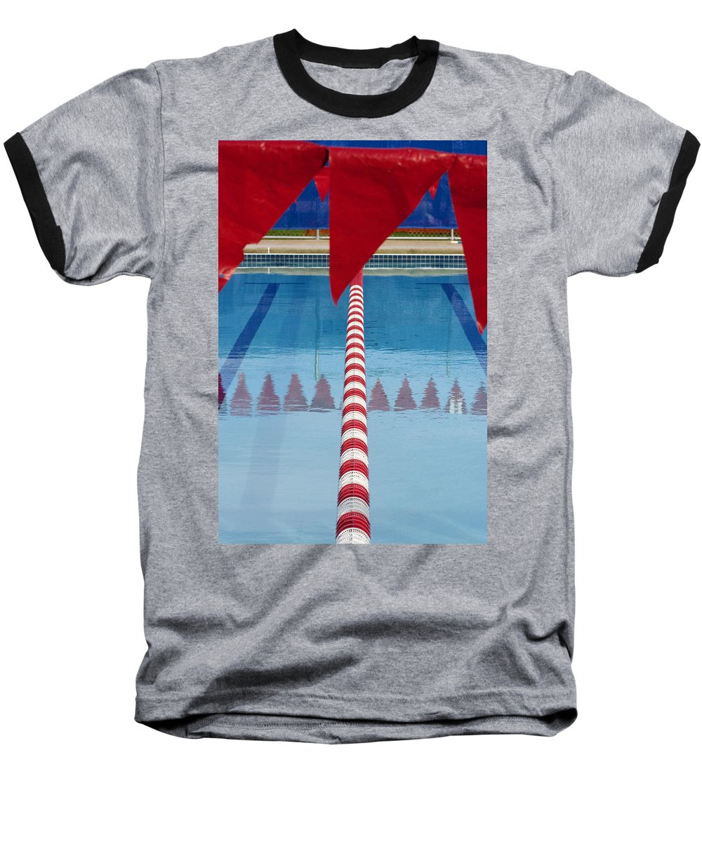 Flag Baseball T-Shirt featuring the photograph Pool by Skip Hunt