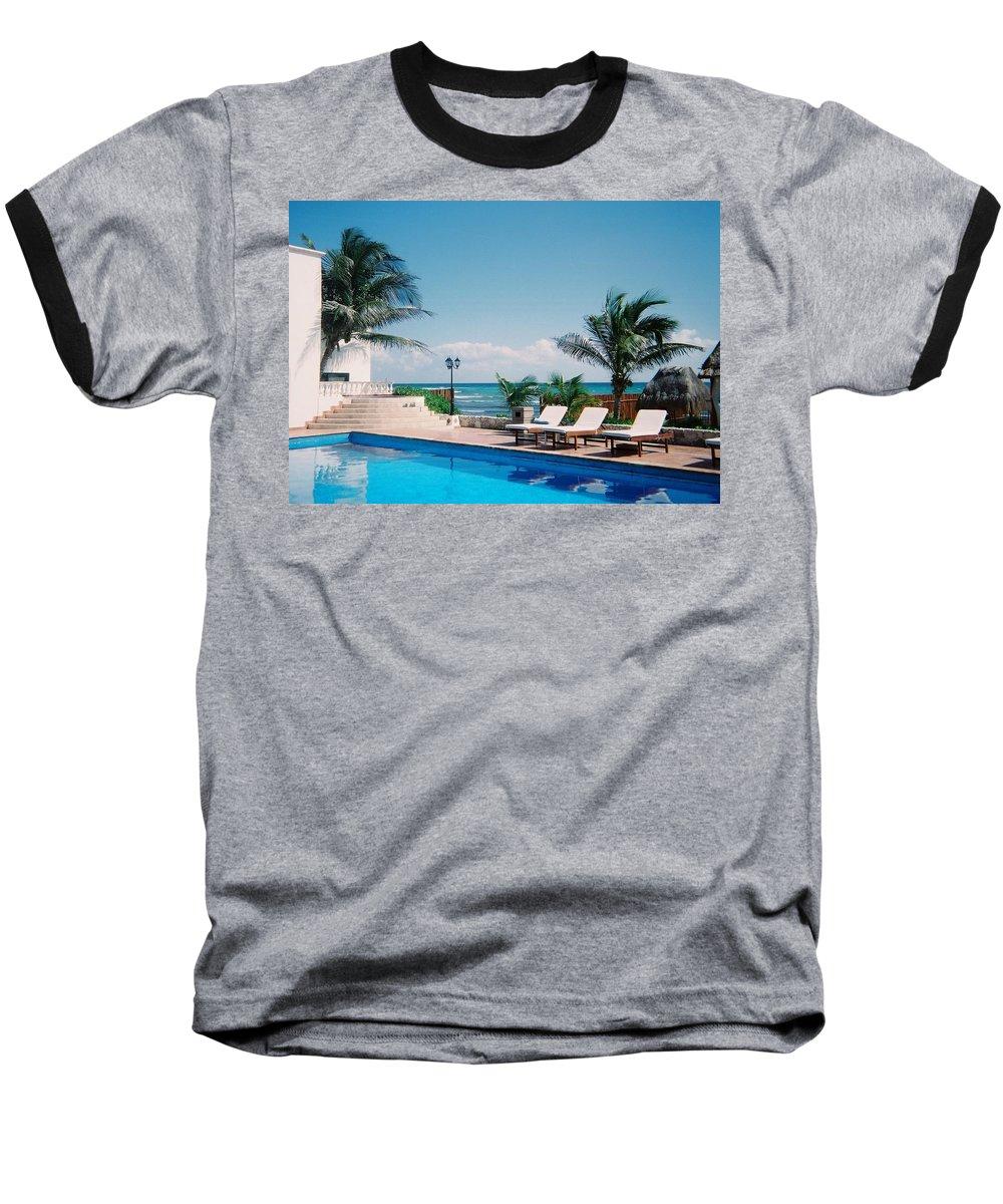 Resort Baseball T-Shirt featuring the photograph Poolside by Anita Burgermeister