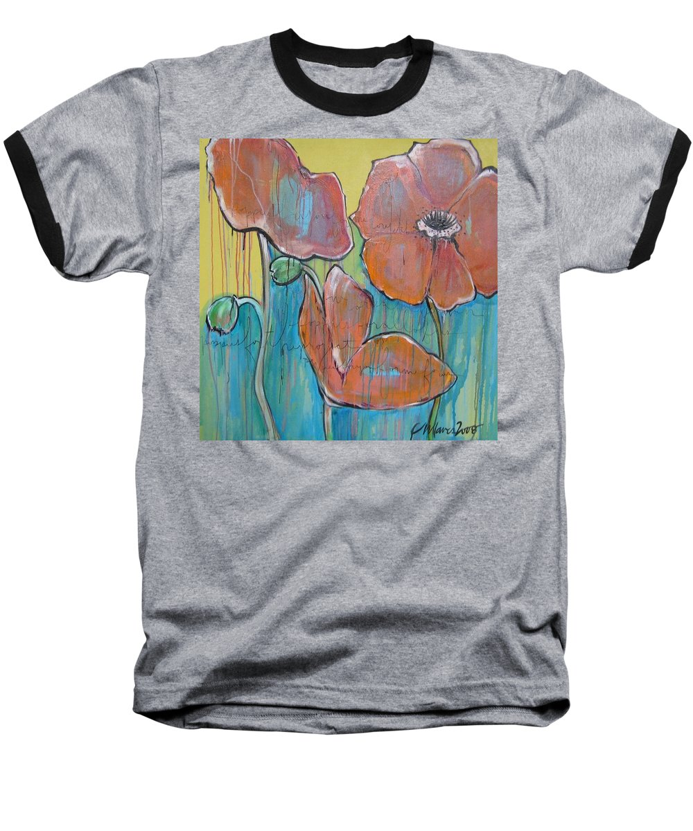Pop Art Baseball T-Shirt featuring the painting Poppies 3 by Laurie Maves ART