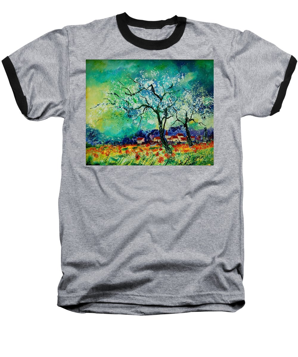 Landscape Baseball T-Shirt featuring the painting Poppies And Appletrees In Blossom by Pol Ledent