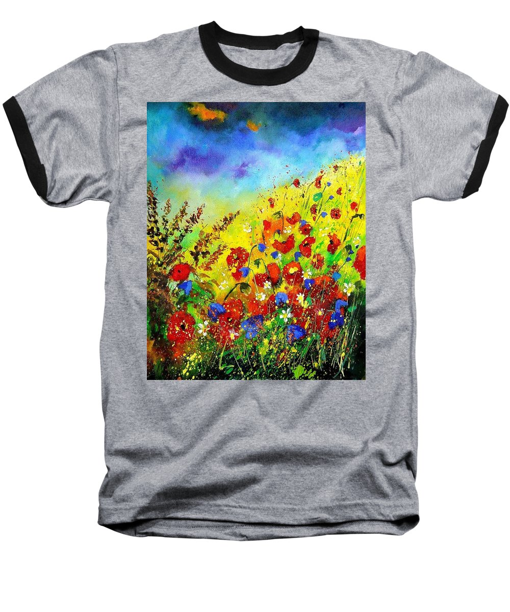 Poppies Baseball T-Shirt featuring the print Poppies And Blue Bells by Pol Ledent