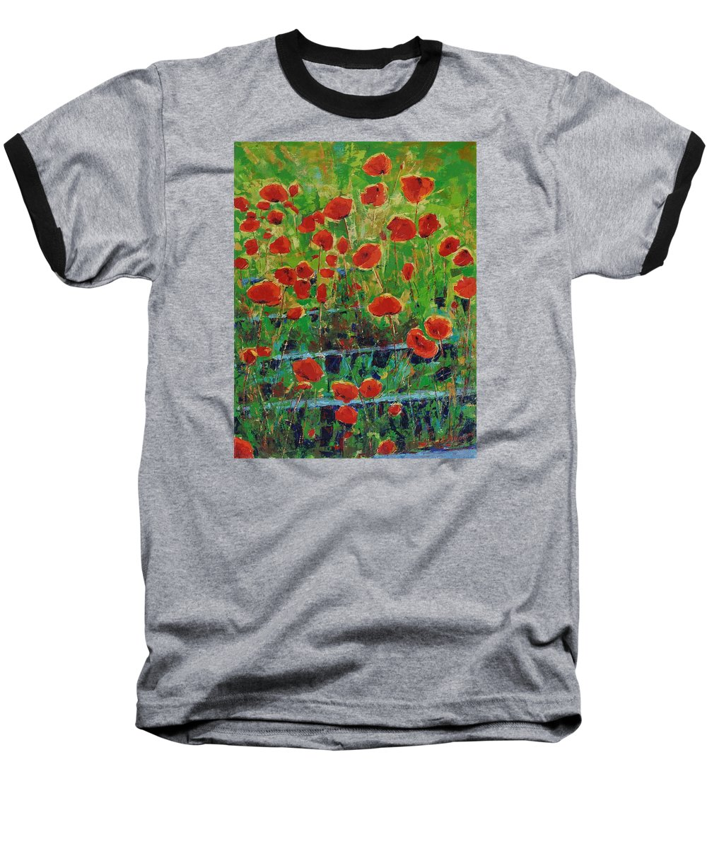 Poppies Baseball T-Shirt featuring the painting Poppies And Traverses 1 by Iliyan Bozhanov