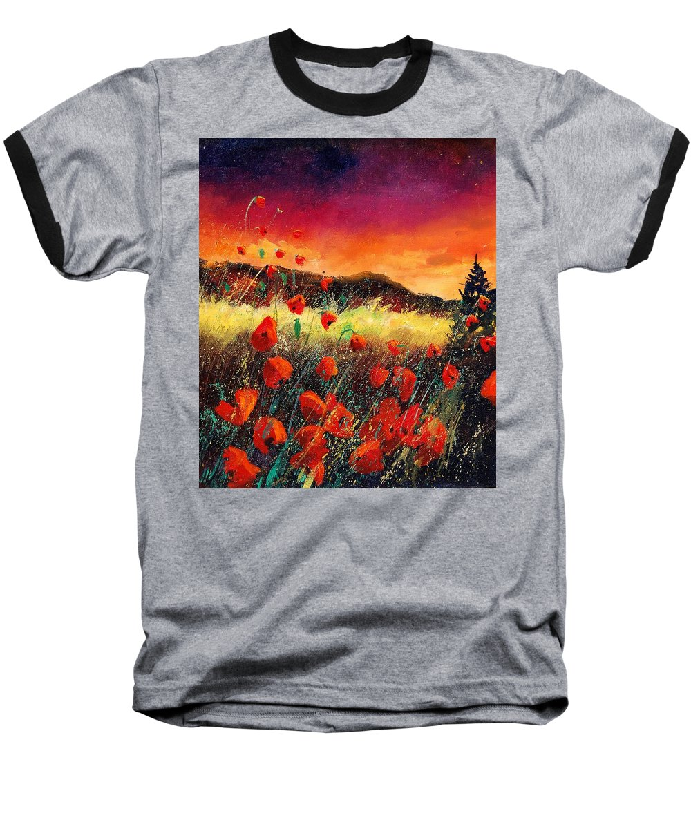 Poppies Baseball T-Shirt featuring the painting Poppies At Sunset 67 by Pol Ledent