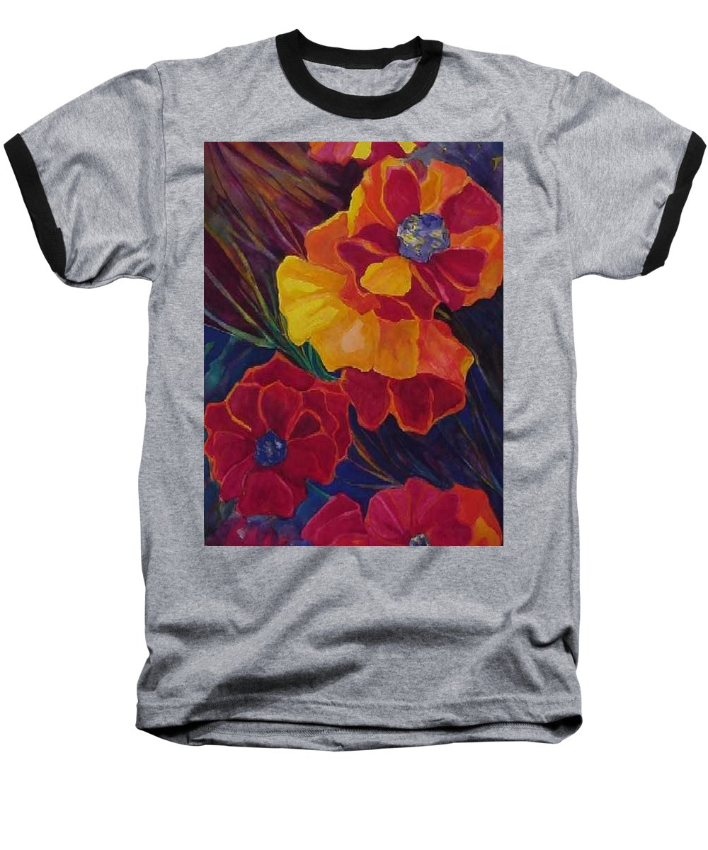 Flowers Baseball T-Shirt featuring the painting Poppies by Carolyn LeGrand