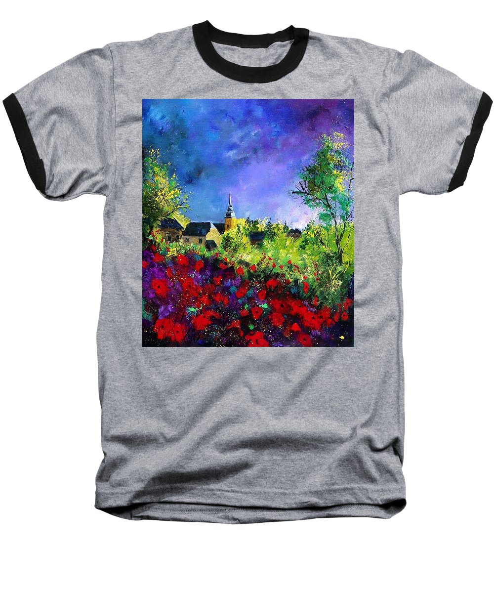 Flowers Baseball T-Shirt featuring the painting Poppies In Villers by Pol Ledent