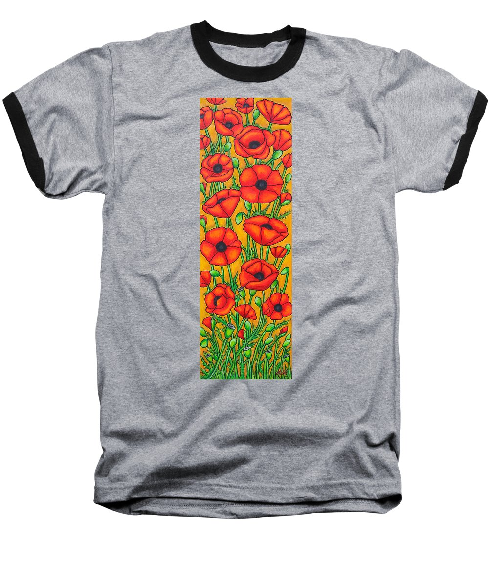Poppies Baseball T-Shirt featuring the painting Poppies Under The Tuscan Sun by Lisa Lorenz