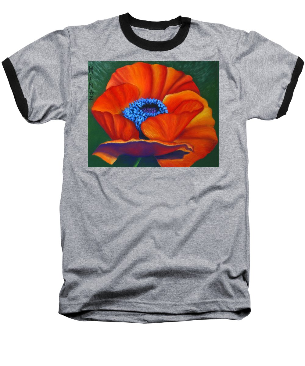 Red Flower Baseball T-Shirt featuring the painting Poppy Pleasure by Minaz Jantz