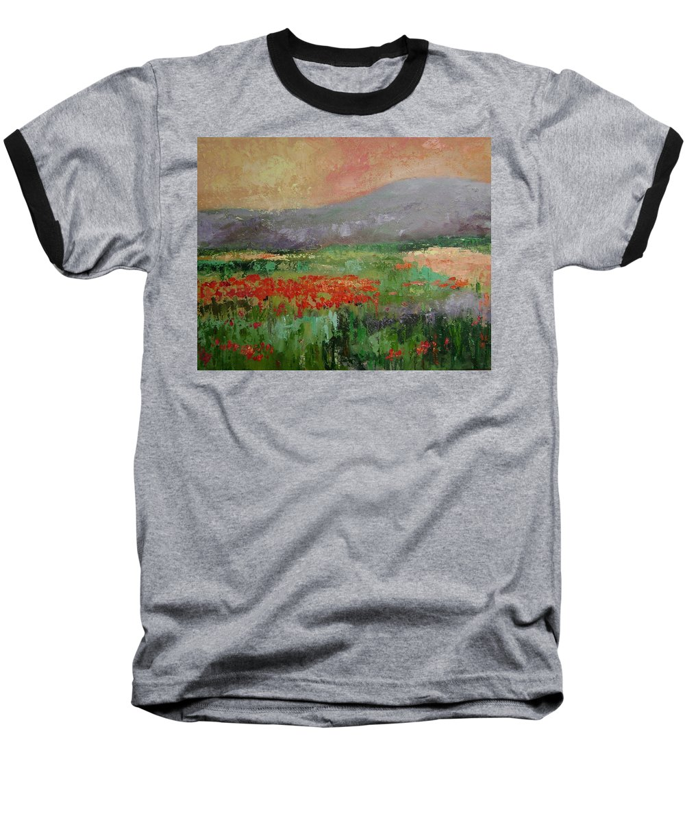 Poppies Baseball T-Shirt featuring the painting Poppyfield by Ginger Concepcion