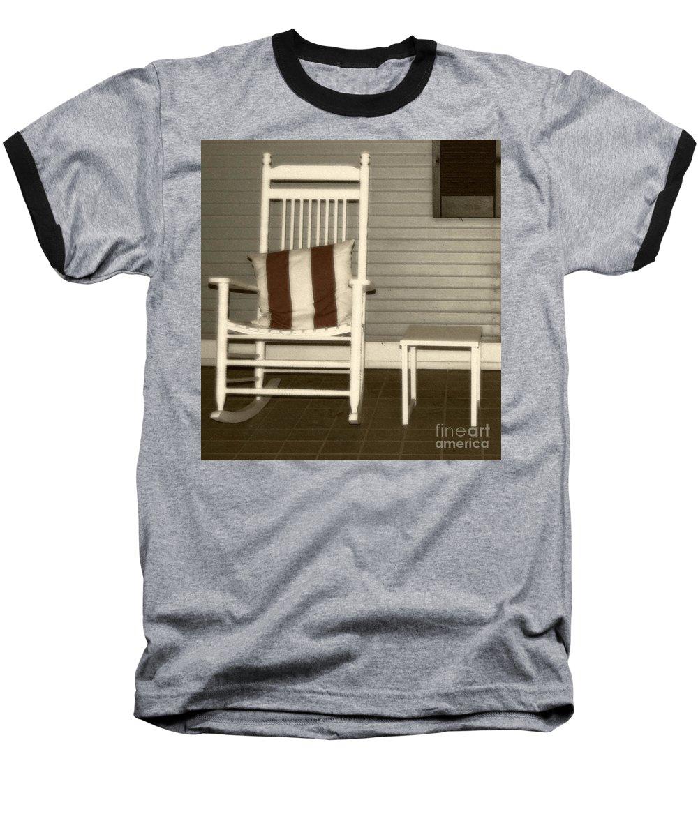 Rocking Chair Baseball T-Shirt featuring the photograph Porch Rocker by Debbi Granruth