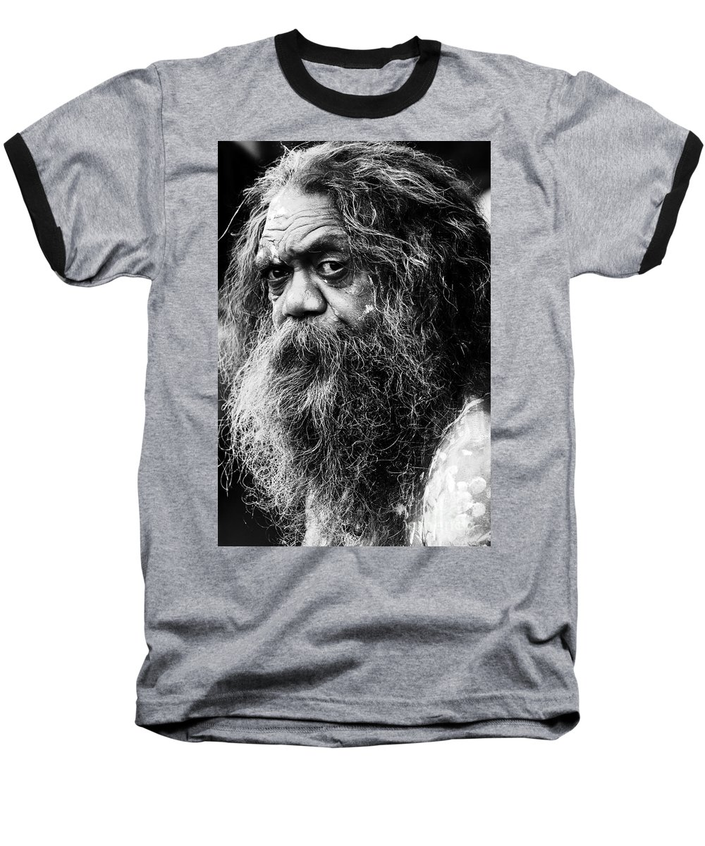 Aborigine Aboriginal Australian Baseball T-Shirt featuring the photograph Portrait Of An Australian Aborigine by Avalon Fine Art Photography