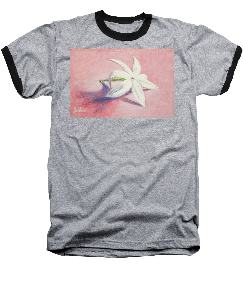 Portrait Baseball T-Shirt featuring the painting Portrait Of The Jasmine Flower by Usha Shantharam