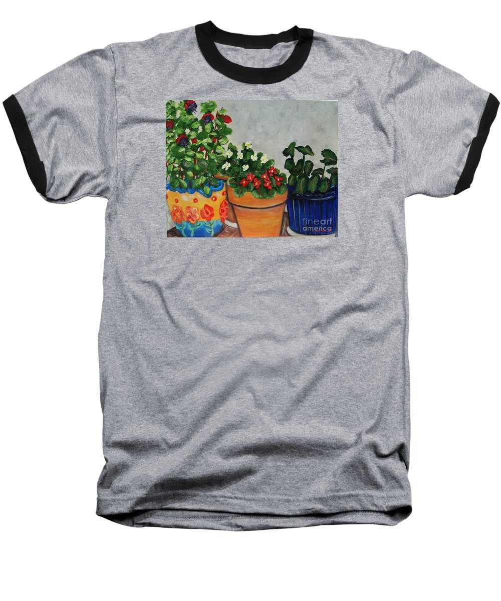Ceramic Pots Baseball T-Shirt featuring the painting Pots Showing Off by Laurie Morgan