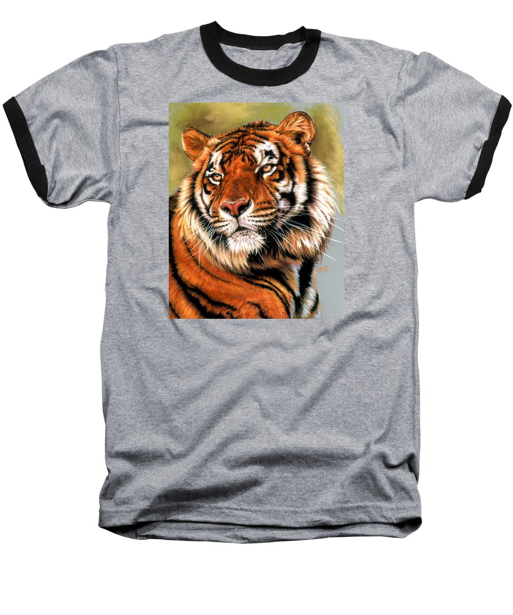 Tiger Baseball T-Shirt featuring the pastel Power And Grace by Barbara Keith