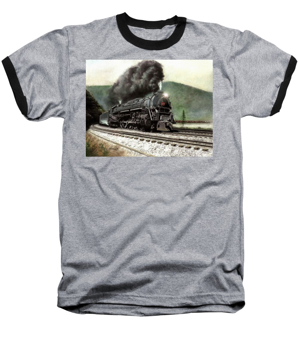 Baseball T-Shirt featuring the painting Power On The Curve by David Mittner