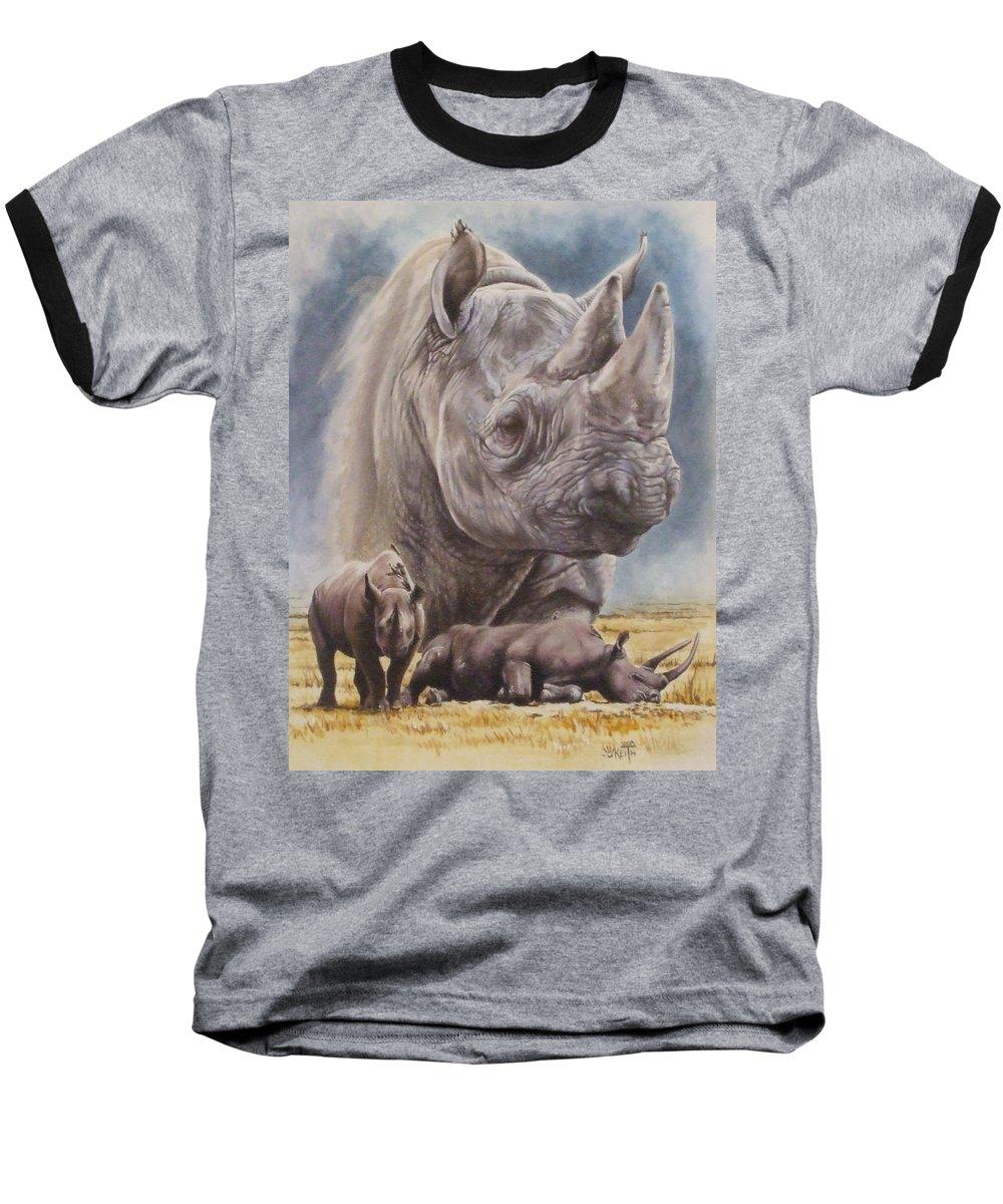 Wildlife Baseball T-Shirt featuring the mixed media Precarious by Barbara Keith