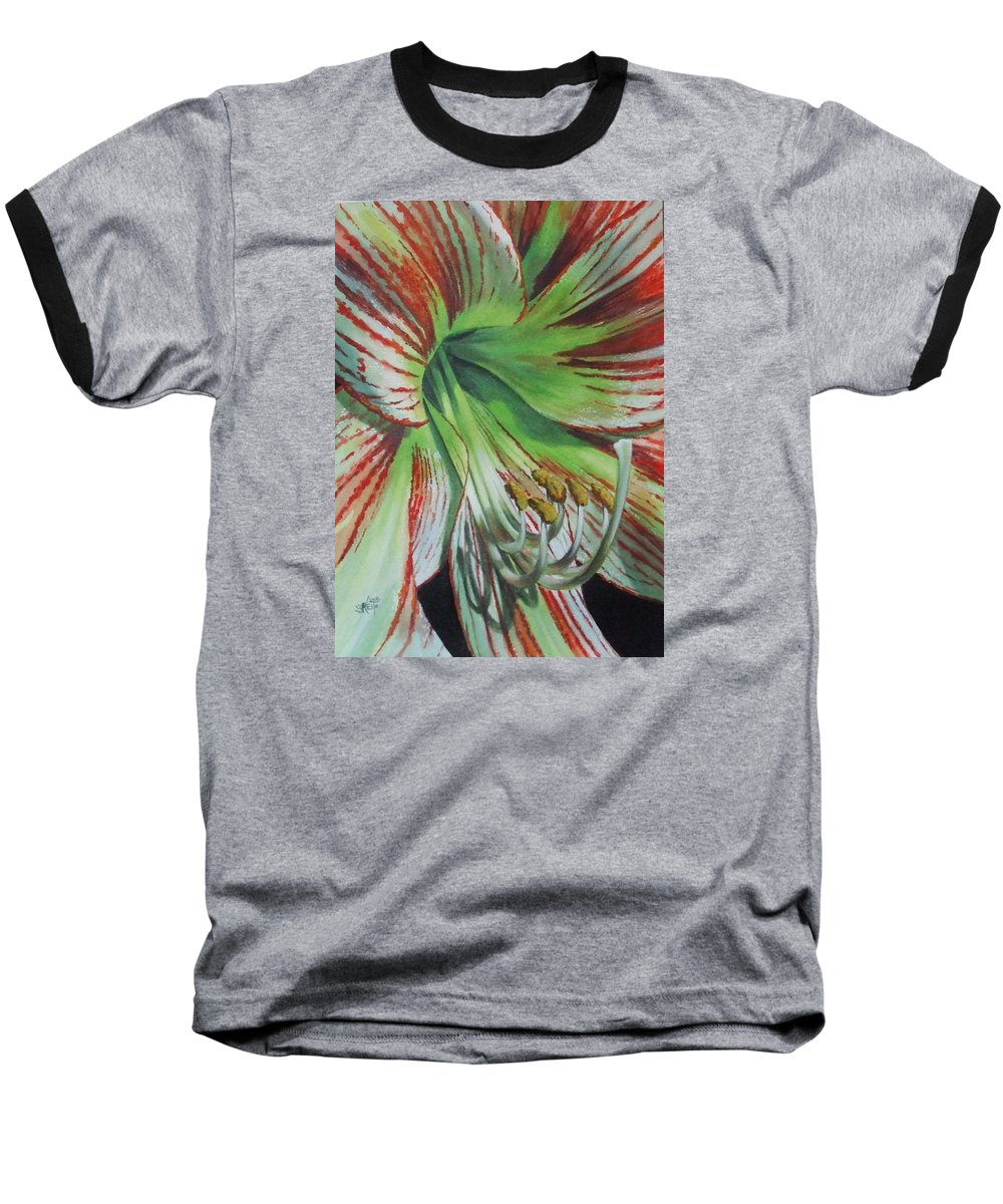 Amaryllis Baseball T-Shirt featuring the painting Precious by Barbara Keith